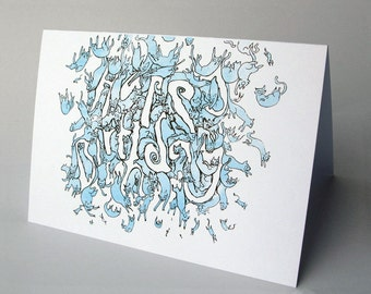 cats falling out of the sky - happy birthday card