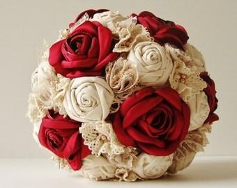 Fabric Wedding Bouquet, Weddings, Vintage Bridal Bouquet, Fabric Flower Bouquet,  Wedding Bouquet,  Red  Roses