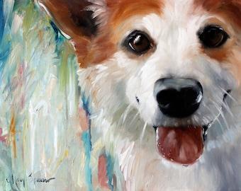 PRINT Pembroke Welsh Corgi Dog Art Oil Painting / Mary Sparrow  pet portrait