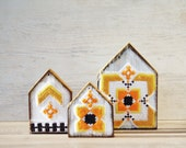 Wooden Houses Ornaments - set of 3 Hand Painted and decorated with little vintage embroidery patterns Rustic Home decor