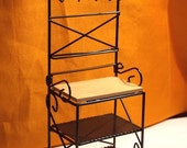 Doll House Bakers Rack - Doll House Black Bakers Rack w Pot Hanger & Cutting Board - 1/12th Scale