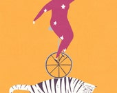 Unicycle and tiger print , A4 limited edition signed print