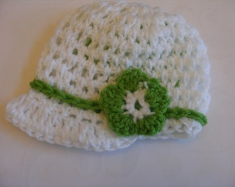 White and Green Visor Beanie NB through 5T for Baby and Toddler Girls