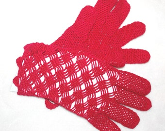 FREE SHIPPING Hand chrochet fishnet gloves in Red