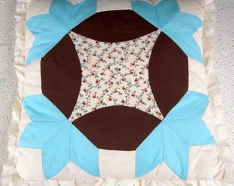 Hand Crafted Quilt Throw Pillow Lace Border