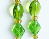 Green Czech Glass Beaded Earrings. Beads. Dangle. Lime Green. Handcrafted Jewelry,  J 111108. Green/Gold Beadwork