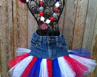 Red white and blue denim tutu skirt