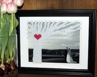 Personalized Anniversary Gift with Song Lyrics on Tree - Customized with YOUR PICTURE and 10x13 Frame Optional