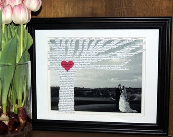 Wedding Gift, Personalized Anniversary Gift with Song Lyrics on Tree - Customized with YOUR PICTURE and 10x13 Framed