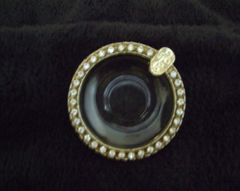 Vintage Glass and Rhinestones Ashtray