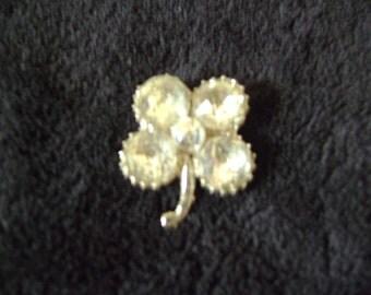 Silvertone Four Leaf Clover Rhinestone Brooch