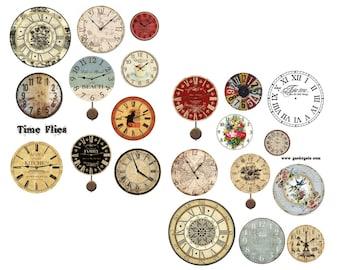 Time Flies Digital Collage Set