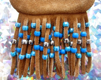 Turquoise Kandi Beaded Suede Leather Fringe Neck Pouch, Medicine Bag, Hip Bag, Pipe Pouch