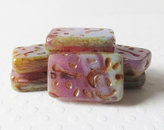 Pink Lilac Czech Glass Chunky Carved Rectangle Beads, 12x18mm, 5 Pieces
