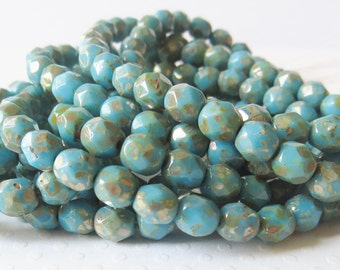 Sky Blue Picasso 6mm Czech Firepolished Glass Round Beads, 30 Pieces