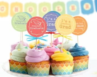Preschool Graduation Printable Party INSTANT DOWNLOAD Rainbow Banner Cupcake Toppers Cupcake Wrappers Water Wrappers