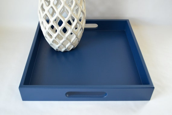 Navy Blue 16 X 16 Wood Square Serving Tray By