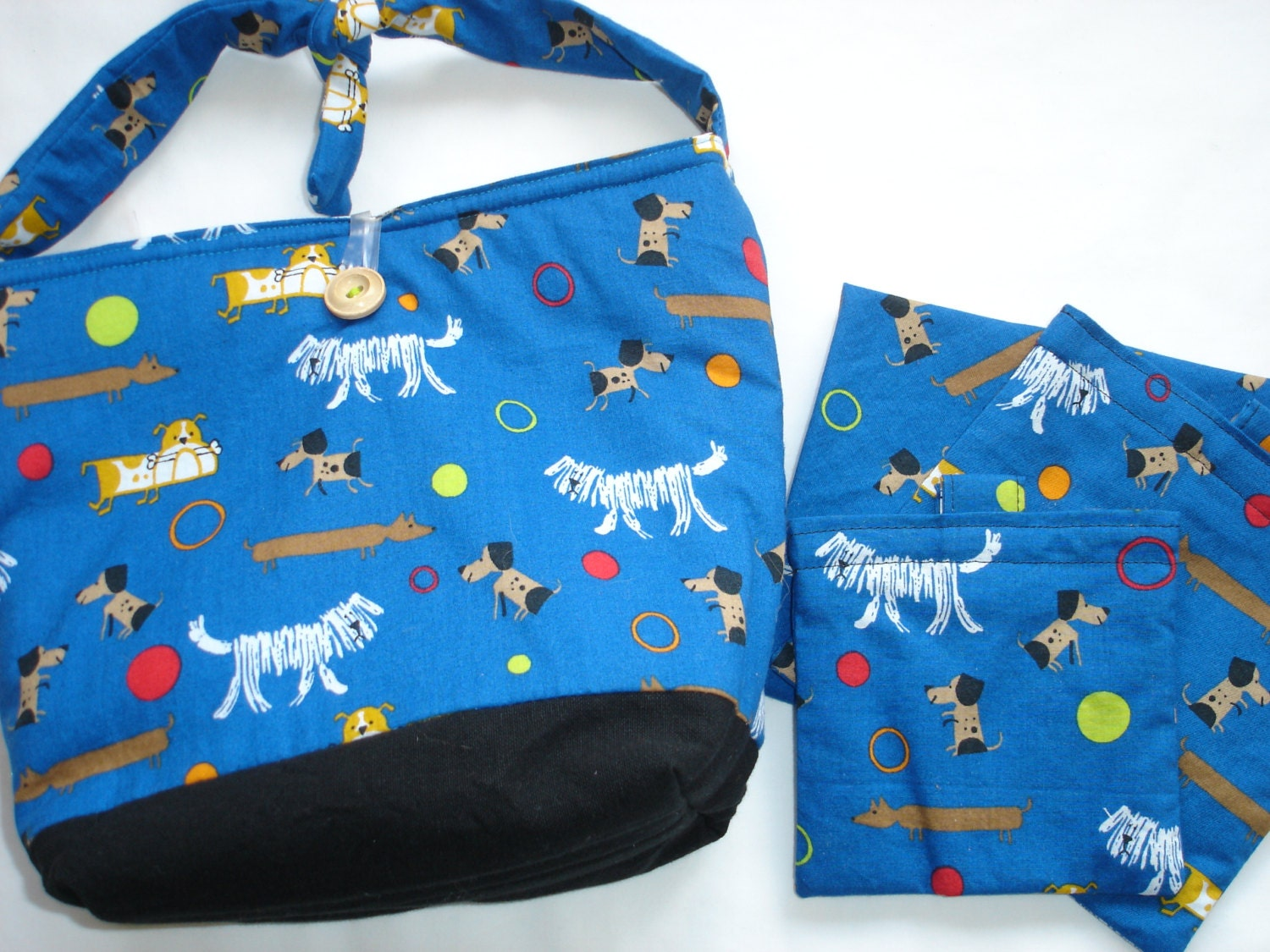 Organic Insulated Lunch Bag And Set Of 3 Reusable Sandwich