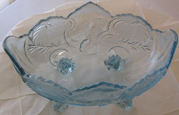 Mid Century Jeanette Glass Company Aqua Pressed Glass Footed Pedestal Bowl