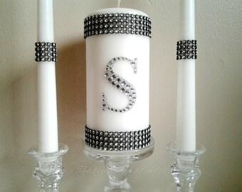 Wedding Unity Candle Set -  Bling Unity Candle - Elegant Wedding Decor - Custom Unity Candle - Personalized Candles - Monogram Candle Set