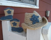 Crochet Cowboy Boots and Hat Set