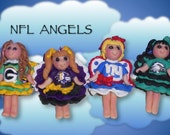Football team polymer clay angel ornaments made to order