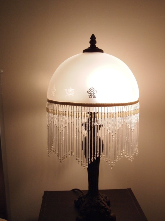 victorian style lamp with frosted white glass shade with glass bead. Black Bedroom Furniture Sets. Home Design Ideas