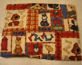 Patchwork Pups Print Back Warmer Corn Cozie