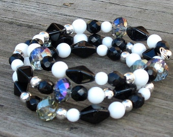 Black, White, Silver, and Crystal Memory Wire Bracelet - Black,  White, Silver, and Crystal Bracelet