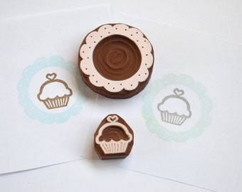 Hand Carved Rubber Stamp /  Cupcake