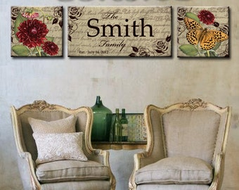 Personalized Family Name Vintage Canvas Sign 3 Piece Canvas Art., Wedding sign