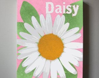 Daisy Canvas wall art - Spring Flower Art, Baby Nursery ,Daisy nursery art, Girls Room Decor