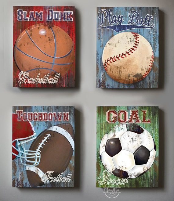wall decor sports set of 4 canvas art sports room decor canvas art