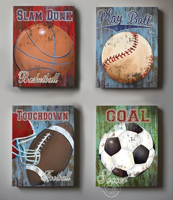 Wall Decor Sports Set of 4 Canvas Art Sports Room Decor