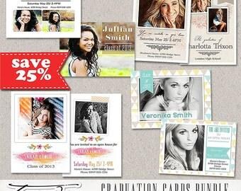 Senior Graduation Announcement  Photoshop Template, Senior Graduation Card Photography Template- Bundle 2