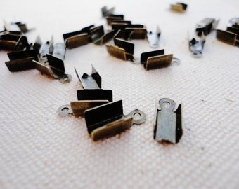 LARGE Fold over Cord Tips, Lead Free Crimp Ends, Bronze For Thick Cords, Leather Cord Ends, , Clasps, Findings