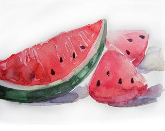 Watermelon painting. Watercolor painting of watermelon. Art Original only