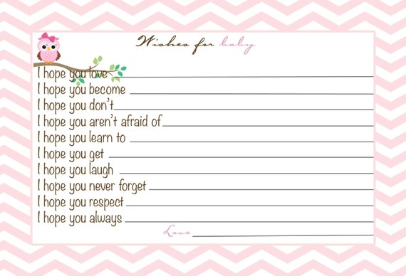 Baby Girl Shower Advice Card, Wishes for the Baby, Chevron Owl ...