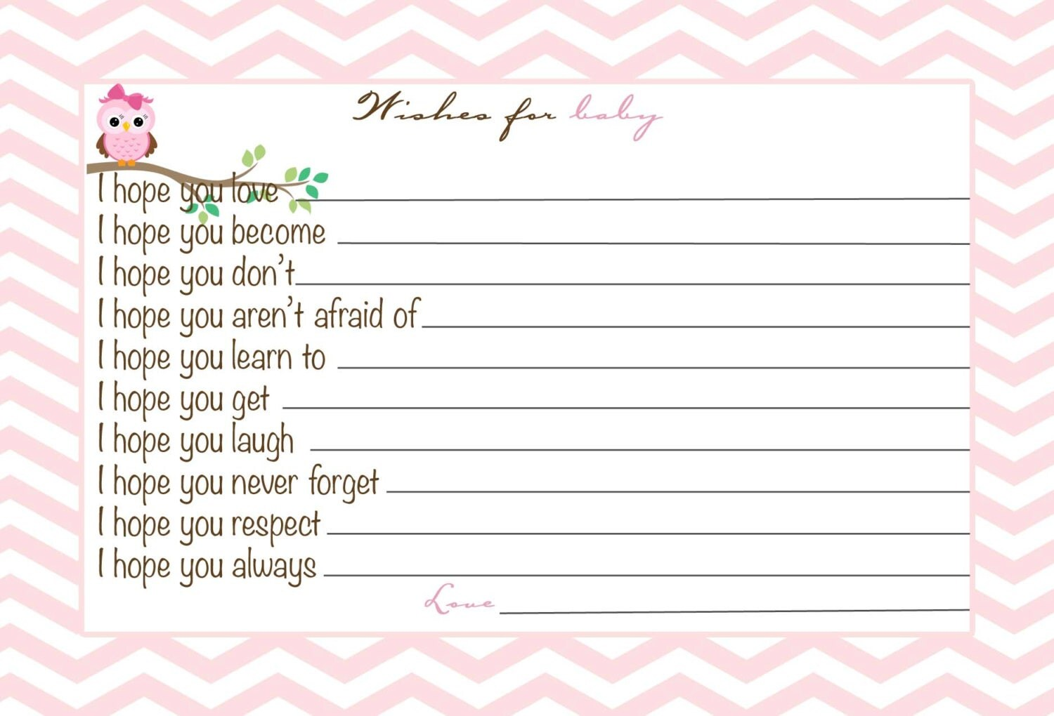 baby girl shower advice card wishes for the baby chevron