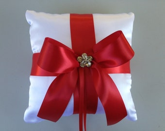 Red/White Wedding Ring Bearer Pillow -  Romantic Satin Ring Pillow...White/Red...With a Rhinestone.