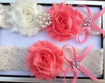 Coral Wedding Garter -  Bridal Garter Set - Ivory Stretch Lace Coral Chiffon Flowers - Pearl Rhinestone embellishment...