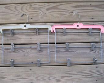 2 Vintage Metal Hangers-Hangers with Multiple Clips-Tiered Metal Slip Hanger-Retro Hangers-Pant Hangers-folding skirt hanger