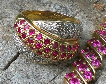"""Sterling silver with gold overlay sz 7 ring and 8"""" bracelet"""