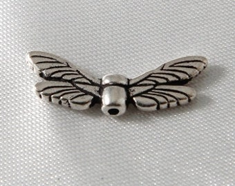 10 pcs - Antiqued Silver Plated Dragonfly Wing Beads