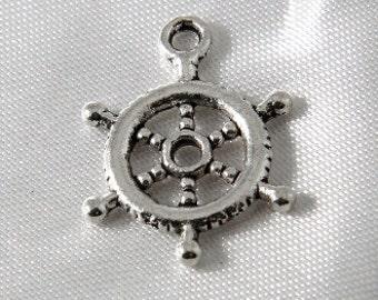 12 pcs - 20mm Antique Silver Nautical Pirate Wheel Helm Charm