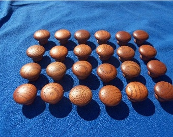 "Vintage Cherry Hard Wood Pull Knobs  Quantity 24 New Old Stock 1 1/2"" Diam."