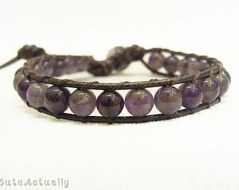 Amethyst wrap bracelet on brown polyester cord, single wrap bracelet, purple stone