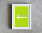 Green print art, park bench poster, bird print, take a deep breath and relax, relax poster, ispirational quote