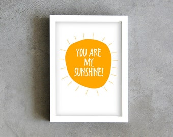 My sunshine typography print, yellow art print, love message, you are my sunshine poster