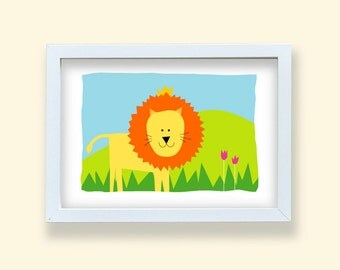 Children room art print, Lion print, Baby nursery room print, Lion decoration, jungle